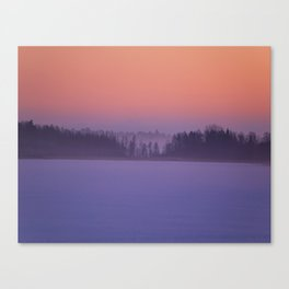 Foggy Winter Evening With Beautiful Sunset Colors In The Sky #decor #buyart #society6 Canvas Print