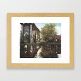 Conway Bridge and Warehouse Riverscape Framed Art Print
