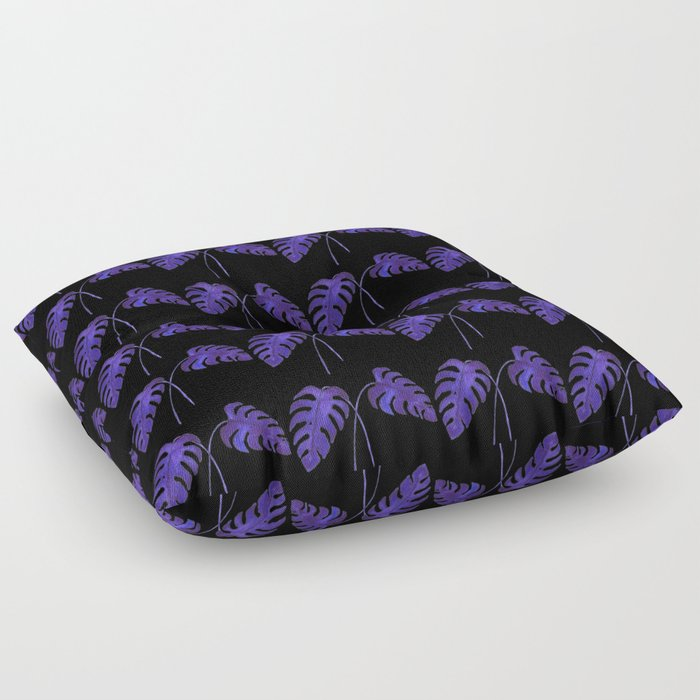 Indigo Monstera Leaf Watercolor on Black Floor Pillow