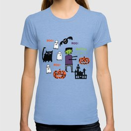 Cute Frankenstein and friends purple #halloween T-shirt