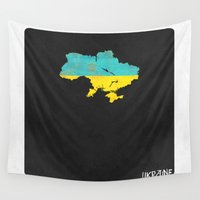 ukraine Wall Tapestries featuring Ukraine Minimalist Vintage Map with Flag by Finlay McNevin