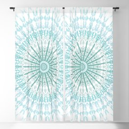 Turquoise White Mandala Blackout Curtain