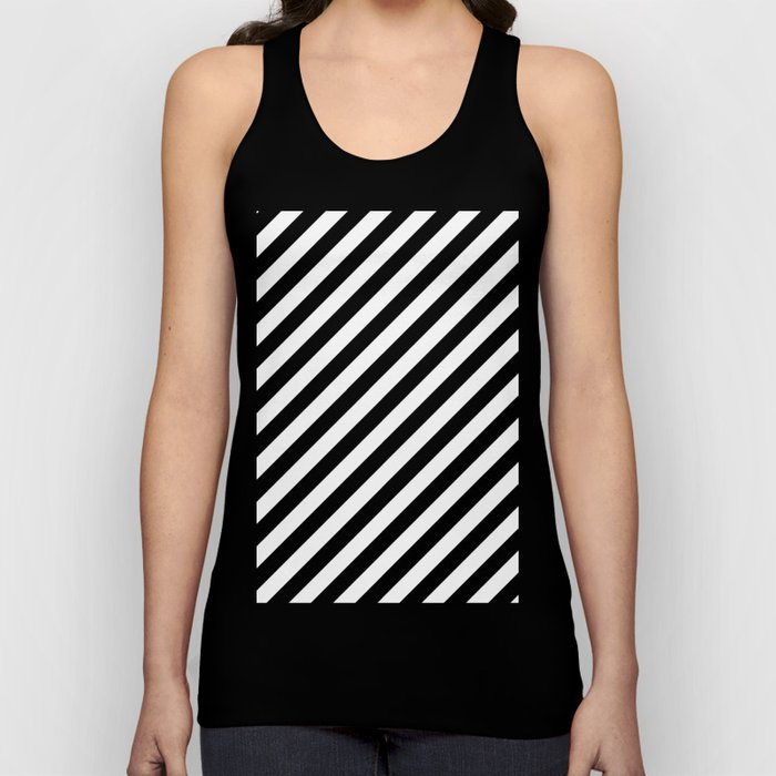 Diagonal Stripes (Black/White) Unisex Tank Top