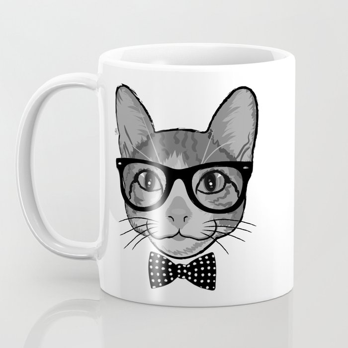 Cat Hipster With Polka Dots Bow Tie - Black White Coffee Mug