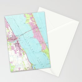 Vintage Map of Melbourne Florida (1949) Stationery Cards
