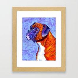 Colorful Brindle Boxer Dog Framed Art Print