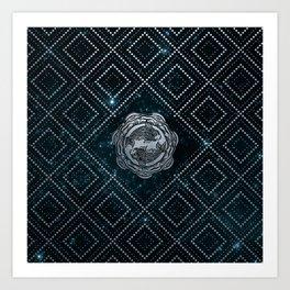 Pisces Zodiac Silver Embossed on the Star sky Kunstdrucke