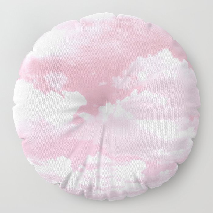 Clouds in a Pink Sky Floor Pillow