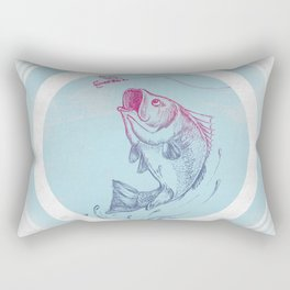 Bass jumping In Blue Circle3 Rectangular Pillow
