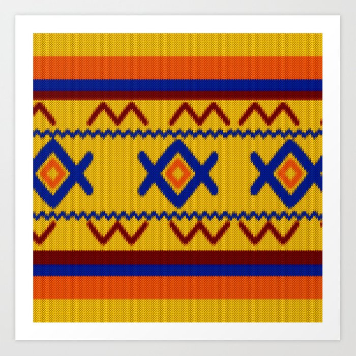 Ethnic African Knitted Style Design Art Print By