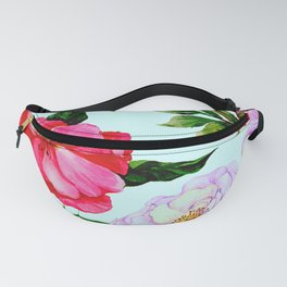 Vintage Red and Lilac Elegant Floral Print Fanny Pack