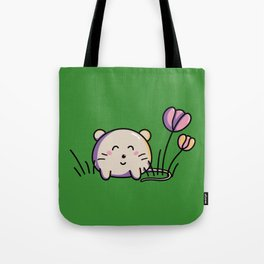 Cute Kawaii Spring Mouse and Flowers Tote Bag