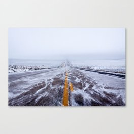 Endless Icy Road Canvas Print
