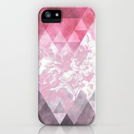 Abstract pink gray watercolor floral triangles iPhone Case