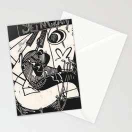 Herbie's Tune, Abstract Jazz Instruments Black and White Block Print Stationery Cards
