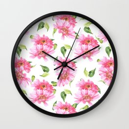 Hand painted neon pink green watercolor floral Wall Clock