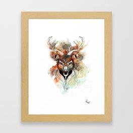 Deer- color brown Framed Art Print