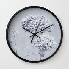 Dried Hydrangea Flowers Dreamy Monochrome Cool Tones Autumn Botanical Wall Clock