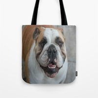 english bulldog Tote Bags featuring English bulldog by lyndseylou