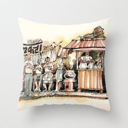 Kolkata India Sketch in Watercolor | City View | Street Food Stall | Calcutta West Bengal Throw Pillow