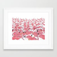 flamingos Framed Art Prints featuring Flamingos by Lydia Coventry