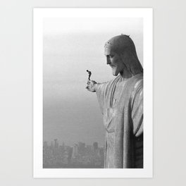 Christ the Redeemer, Rio de Janeiro, Brazil death defying dare devil black and white photography Art Print