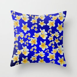 asian, yellow, white, bloom, bright, blue, background,floral pattern Throw Pillow