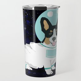Corgi spacedog astronaut outer space tricolored corgis dog portrait gifts Travel Mug