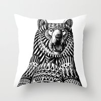 ornate Throw Pillows featuring Ornate Grizzly Bear by BIOWORKZ