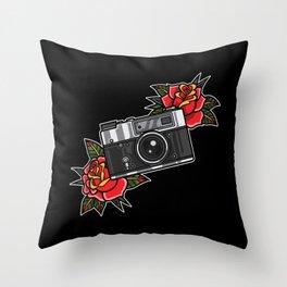 Retro analog camera with flower decoration Throw Pillow