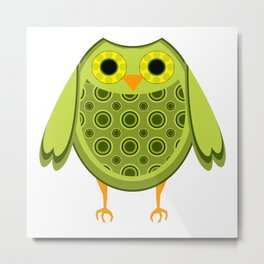 Green Owl Pal Metal Print