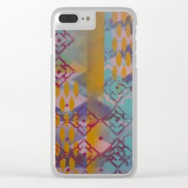 Orange leaves and pink flower pattern Clear iPhone Case