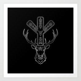 Algiz  Rune and Deer in Silver Art Print