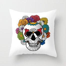 Bright Curly Sugar Skull Throw Pillow