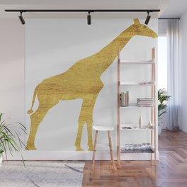 Giraffe Silhouette in Gold Wall Mural