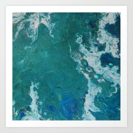 A View From Space, abstract acrylic fluid painting Art Print