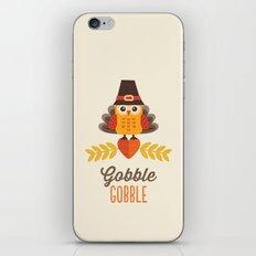 THANKSGIVING OWL IN TURKEY COSTUME AND PILGRIM HAT iPhone & iPod Skin