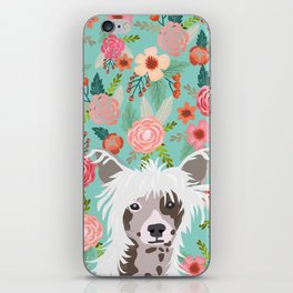 Chinese Crested floral dog breed pattern cute dog gifts for dog lovers iPhone Skin