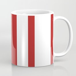 Mixed Vertical Stripes - White and Firebrick Red Coffee Mug