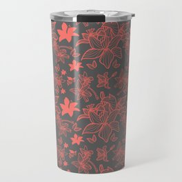 Flowers In Coral Red Travel Mug