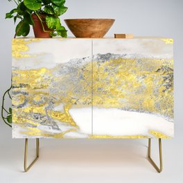 Silver and Gold Marble Design Credenza
