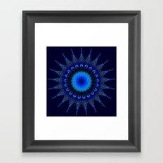 Blue kaleidoscope fractal star Framed Art Print