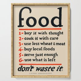 Food, Don't Waste It - WWI Poster, 1917 Serving Tray