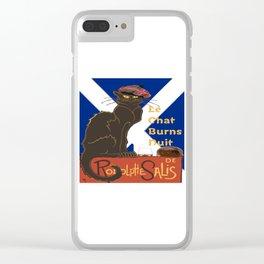 Le Chat Burns Nuit Haggis Dram Scottish Saltire Clear iPhone Case