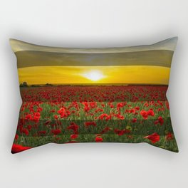 Sunset Red Flowers & Transparent Stripes Rectangular Pillow