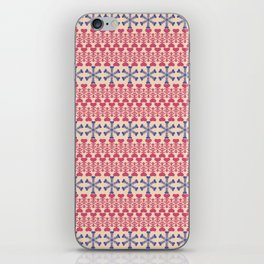 Vintage red blue ivory abstract Christmas pattern iPhone Skin