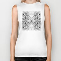 gray pattern Biker Tanks featuring Emerge - Gray/Black Pattern by MB4 Studio