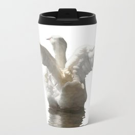 White Duck Flapping Wings on Water Vector Travel Mug
