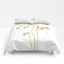 orange freesia watercolor Comforters
