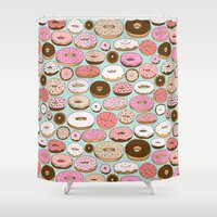 donut Shower Curtains featuring Donut Wonderland by Kristin Nohe Juchs